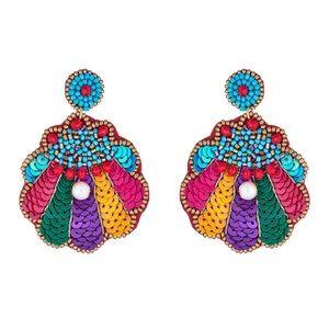 Multi Color Sequin Shell Pearl Drop Earrings